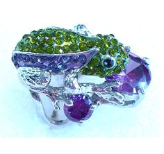 "Unique Vintage Rhinestone Frog Ring  ~ Green & Lavender Rhinestones ~ by MarlosMarvelousFinds, $35.00    **See more spectacular vintage Rhinestone, Aurora Borealis (AB) Rhinestone, Crystal, Pearls, and More ~ Vintage Jewelry at ""Marlo's Marvelous Finds 'N Creations""  http://www.MarlosMarvelousFinds.Etsy.com"