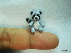 Miniature Gray Raccoon  Micro Crochet Miniature Small by suami, $58.00