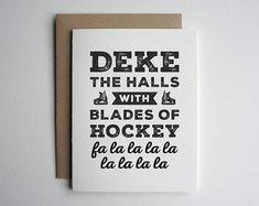Letterpress Christmas Card Hockey Christmas by SweetPeonyPress