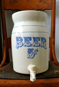 Vintage Beer 5 Cents Stoneware Crock Beverage by chriscre on Etsy, $48.00