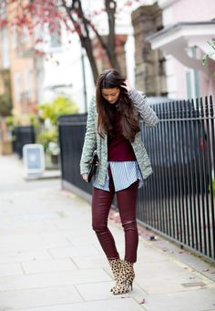 love the color combination of denim with ox blood
