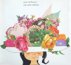 """After church, the birds decorate her hat  with flowers, valentines, and old photos.  From """"Jennie's Hat"""" by Ezra Jack Keats, 1966."""