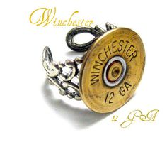 Winchester 12 GA Shotgun casing Ring  Bullet Jewelry filligree adustable