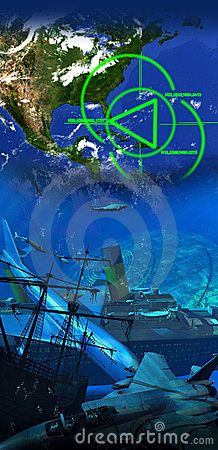 Vertical fusion of two images representing the legend of the Bermuda triangle. The first one presents the geographical location of the Bermuda triangle. The second one presents several planes and ships under the water, even a flying saucer, with sharks and fishes swimming around.