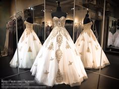 >> Click to Buy << Vintage Ivory Gold Appliques Ball Gown Prom Dresses 2017 Sweetheart Princess Beaded Floor Length Girls Puffy Prom Gowns Custom #Affiliate