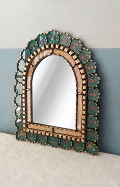 Wood Framed Mirror, Framed Wall, Wall Art, Beaded Mirror, Mexican Home Decor, Gold Wood, Wooden Beads, Accent Colors, Frames On Wall