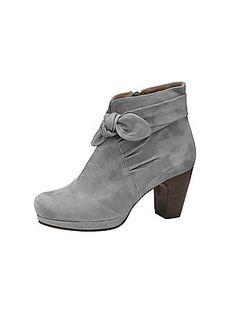 Bottines femme grises en cuir velours, talon large et gros noeud