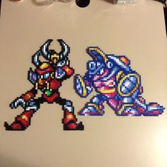 Boomer Kuwanger and Armored Armadillo  - Mega Man perler bead sprites by saladbrains