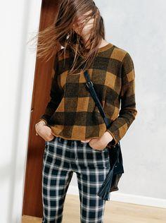 "Inkcheck sweater + Lafayette bucket bag + 9"" High Riser Skinny skinny Jeans plaid | Madewell"