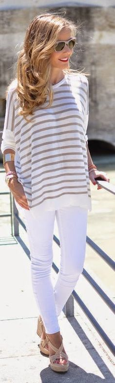 brown and white striped pants #spring #outfits | Outfit, Női