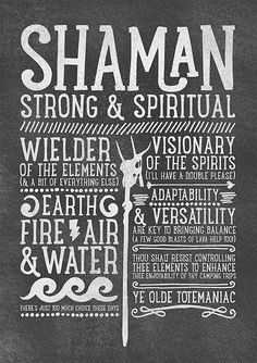 World of Warcraft / Roleplaying Medieval / Fantasy Inspired Type Print - SHAMAN Edition