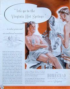 1935 AD The Homestead Virginia Hot Springs Resort Men in Towels Golf Locker Room #TheHomesteadResortVirginiaHotSprings