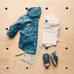 50591dfd8 Baby Gap, double chambray and a pop of white denim Baby Gap, White Denim