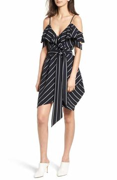 KENDALL + KYLIE Pinstripe Ruffle Wrap Dress