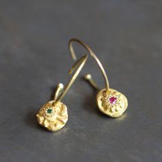 Boucles d'oreilles rubis/tsavorite