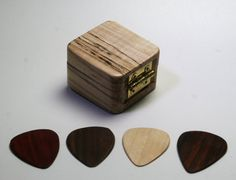 Wooden Guitar Pick Case U0026 Guitar Pick Set Ooak Oregon Myrtle Hard Wood Felt  Lined Magnetic Latch Perfect Gift