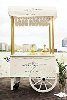 Champagne Wishes and Caviar Dreams Moet Chandon, Veuve Cliquot, Food Cart Design, Ice Cream Cart, Drink Cart, Pop Up Bar, Candy Cart, Coffee Carts, Flower Cart