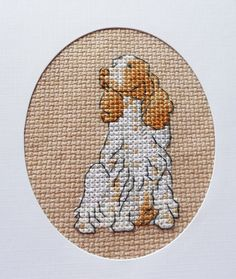 Springer Spaniel Dog Cross Stitched Greeting Note by stitchnmomma, $7.50