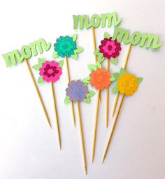 Mother's Day Toppers Toddler Crafts, Crafts For Kids, Mom Cake, Diy Gifts For Mom, Tall Flowers, Glitter Cardstock, Mothers Day Crafts, Party Bags, Craft Work