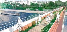 projetos urbanos sustentáveis Stadium Architecture, Landscape Architecture, Urban Landscape, Landscape Design, Parque Linear, Urban Design Diagram, Urban Road, Bridge Design, Architecture Visualization