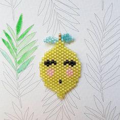 Billedresultat for lemon shaped beaded earring Hama Beads, Miyuki Beads, Fuse Beads, Seed Beads, Beaded Brooch, Beaded Jewelry, Crochet Earrings, Little Girl Jewelry, Girls Jewelry