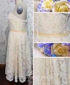 Elegant strapless knee-length champagne lace wedding dress on Etsy, $188.00