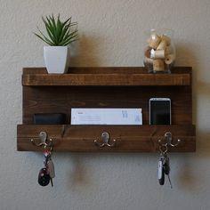 DIY Headboards - Modern Rustic Mail Organizer with Floating Shelf Rustic Entryway, Rustic Decor, Entryway Shelf, Modern Rustic, Modern Decor, Rustic Furniture, Diy Furniture, Key Rack, Rack Design