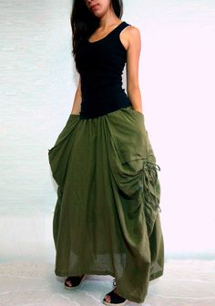 Lagenlook Maxi Skirt Big Pockets Long Skirt - in Olive Army Green Cotton Long Skirt - SK001
