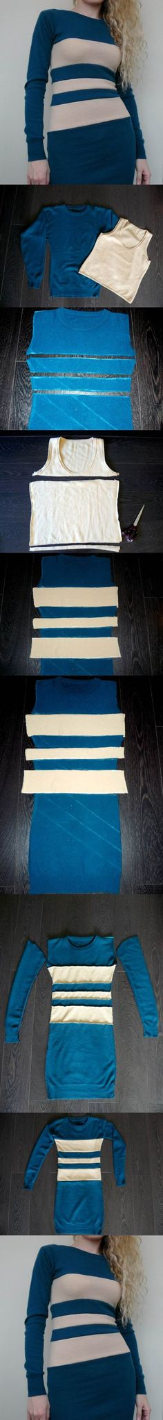 DIY Color Block Dress from Sweatshirt and Tank | iCreativeIdeas.com Like Us on Facebook ==> https://www.facebook.com/icreativeideas