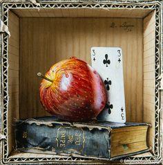Jeu de dupe au trois de trèfle - 20x20cm : Accessoires und Dekoration von Peinture en trompe-l'oeil