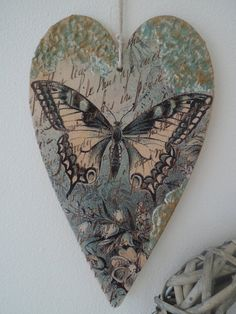 Vintage style  decoupage heart  wooden by CarmenHandCrafts on Etsy