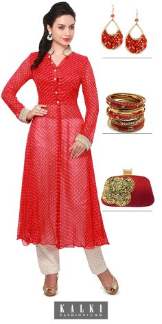 Don't let anything come in way of your enjoyment as you dazzle in this pearl embroidery red leheriya suit and have all eyes on you