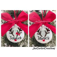 Vinyl Christmas Ornaments, Personalised Christmas Baubles, Reindeer Ornaments, Glitter Ornaments, Personalized Christmas Ornaments, Diy Christmas Gifts, Kids Ornament, Reindeer Names, Christmas 2019