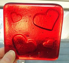 Fused Glass Coaster Ruby Red Valentine by GlitteringprizeGlass