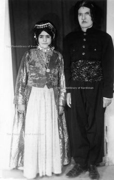 Iran 1960.Ibrahim Ghassemlou and his wife Fatime Nnas. She is dressed according to the Shikak tradition but her headdress is Herki.Iran 1960.Ibrahim Ghassemlou et sa femme Fatime Nanas, elle est habillee selon le costume Shikak mais la coiffure est Herki