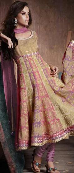 Fawn and Pink #Anarkali Pure Chiffon Churidar #Kameez @ $163.52 | Shop Here: http://www.utsavfashion.com/store/sarees-large.aspx?icode=kbp485
