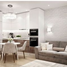 Hall And Living Room, Open Kitchen And Living Room, Kitchen Room Design, Small Living Rooms, Modern Kitchen Design, Interior Design Kitchen, Kitchen Decor, Condo Interior, Cuisines Design