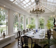 How will you use your conservatory? Dining rooms are one of the most popular options Interior Exterior, Home Interior Design, Interior Modern, Interior Architecture, Conservatory Dining Room, Conservatory Interiors, World Of Interiors, Glass Room, Tag Design