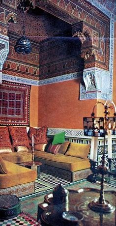 Seating alcove from Palais de la Zahia by Bill Willis in Talitha and John-Paul Getty's Moroccan riad in Marrakech. Moroccan Design, Moroccan Decor, Moroccan Style, Moroccan Colors, Moroccan Print, Moroccan Bedroom, Moroccan Lanterns, Style Marocain, Interior And Exterior