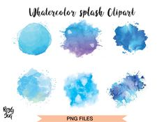 Watercolor Splashes ClipArt Blue (Graphic) by · Creative Fabrica Watercolor Splash Png, Watercolor Circles, Watercolor Brushes, Pink Watercolor, Fireworks Clipart, Art Basics, Watercolor Techniques, Graphic Illustration, Illustrations