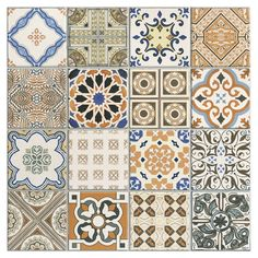 Provenzia Decorative Mix Pattern Porcelain Tile Floor Stickers, Wall Stickers, Wall Decals, Mosaic Diy, Mosaic Wall, Spanish Home Decor, Polished Porcelain Tiles, Vinyl Room, Tile Suppliers