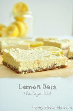 Lemon Bars. Raw. Vegan. Gluten free. Paleo. No bake