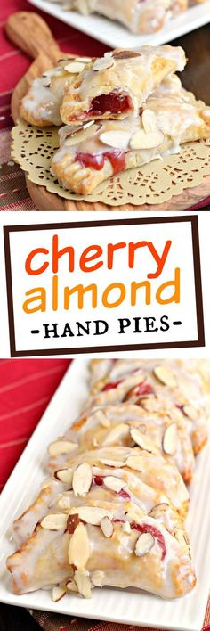 A flaky crust with a cherry almond pie fill… Easy, baked Cherry Almond Hand Pies! A flaky crust with a cherry almond pie filling, dipped in a sugary glaze and topped with sliced almonds. The perfect dessert! Cherry Desserts, Cherry Recipes, Köstliche Desserts, Delicious Desserts, Dessert Recipes, Yummy Food, Dessert Parfait, Pie Dessert, Fried Pies