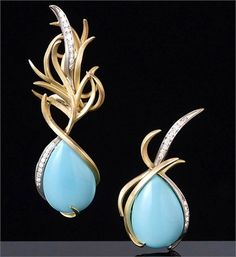 Francesca Grima | Turquoise and Diamond Asymmetric Earrings set in Gold