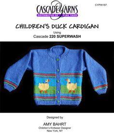 Children's Duck Cardigan in Cascade 220 Superwash - W187
