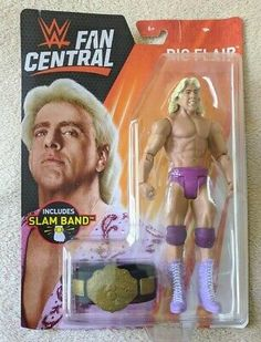 2017 WWE Mattel Nature Boy Ric Flair Fan Central Wrestling Figure MOC Slam Band for sale online Ready To Rumble, Ric Flair, Professional Wrestling, Slammed, Wwe, Action Figures, Baseball Cards, Devil, Sports