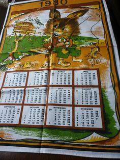 Vintage Tea Towel...1980 Calendar - my son David was born.