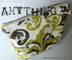 Buttercream and a Sewing Machine: Tutorial: Zippered Anything Pouch