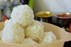 Poorni's Cookbook: Coconut Laddoo/ Coconut Laadu/ Coconut Laddu ~~Fes... Healthy Low Calorie Meals, Low Calorie Recipes, Rice Dishes, Food Festival, Soup Recipes, Nom Nom, Coconut, Sweets, Snacks