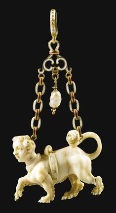 South German, probably late century PENDANT WITH A SPHINX ivory, mounted with enamelled gold and a pearl 3 in. Renaissance Jewelry, Medieval Jewelry, Ancient Jewelry, Antique Jewelry, Vintage Jewelry, Wiccan Jewelry, Pendant Jewelry, Jewelry Art, Gold Jewelry